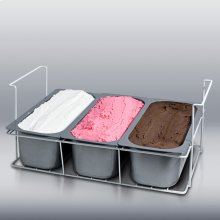 Basket holder for full or half size Gelato pans available for any flat glass slide top freezer.