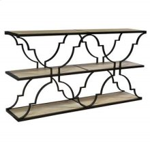 Bengal Manor Iron and Wood Architectural 3 Tier Console