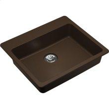 """Elkay Quartz Classic 25"""" x 22"""" x 5-1/2"""", Drop-in ADA Sink with Perfect Drain, Mocha"""