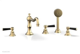 HENRI Deck Tub Set with Hand Shower with Marble Handles 161-50 - Satin Brass