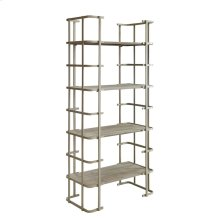 Ava Silver Metal and Driftwood Etagere
