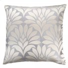 Gisela Contemporary Decorative Feather and Down Throw Pillow In Silver Jacquard Fabric Product Image