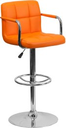 Contemporary Orange Quilted Vinyl Adjustable Height Barstool with Arms and Chrome Base Product Image