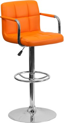 Contemporary Orange Quilted Vinyl Adjustable Height Barstool with Arms and Chrome Base