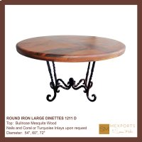 Round Iron Large Dinette Bullnose Mesquite Wood Top Product Image