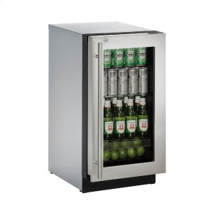 "U-Line Modular 3000 Series 18"" Glass Door Refrigerator With Stainless Frame (Lock) Finish And Right-Hand Hinged Door Swing (115 Volts / 60 Hz)"
