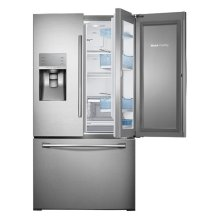 "36"" Wide, 30 cu. ft. Capacity 3-Door French Door Food ShowCase Refrigerator with Dual Ice Maker (Stainless Steel)"