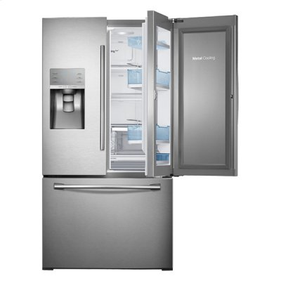 """36"""" Wide, 30 cu. ft. Capacity 3-Door French Door Food ShowCase Refrigerator with Dual Ice Maker (Stainless Steel) Product Image"""
