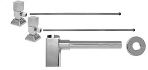 """Lavatory Supply Kit w/ Decorative Trap - Angle - Contemporary Square Handle - 1/2"""" Compression (5/8"""" O.D.) Inlet x 3/8"""" O.D. Compression Outlet - Polished Nickel"""