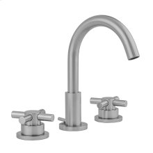 Satin Brass - Uptown Contempo Faucet with Round Escutcheons & Low Contempo Cross Handles- 0.5 GPM