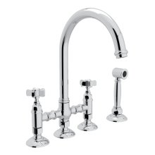 Polished Chrome Italian Kitchen San Julio Deck Mount C-Spout 3 Leg Bridge Kitchen Faucet With Sidespray with Five Spoke Handle