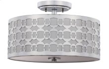 Cedar Linked 3 Light 15-inch Dia Chrome Flush Mount - Chrome Shade Color: Off-White