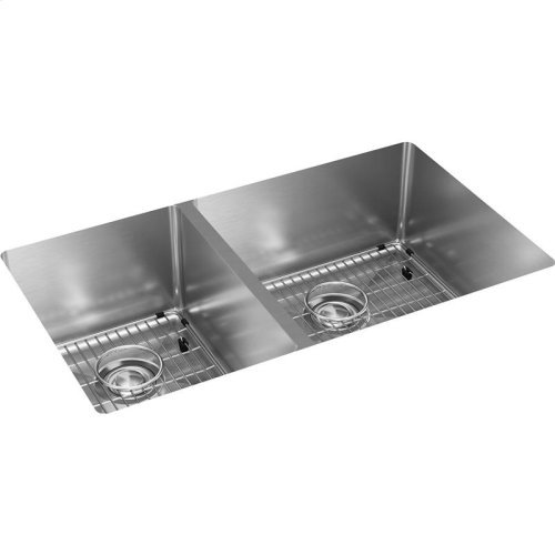 "Elkay Crosstown Stainless Steel 31-1/2"" x 18-1/2"" x 9"", 40/60 Double Bowl Undermount Sink Kit"