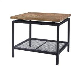 Emerald Home Magnolia End Table Mesh Shelf Golden Oak Top, Black Metal Legs T549-01