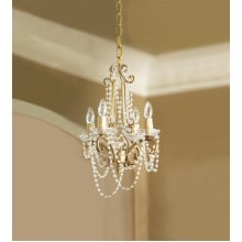 Gold Hanging Chandelier with Clear Beads. 25W Max. Plug-in with Hard Wire Kit Included.