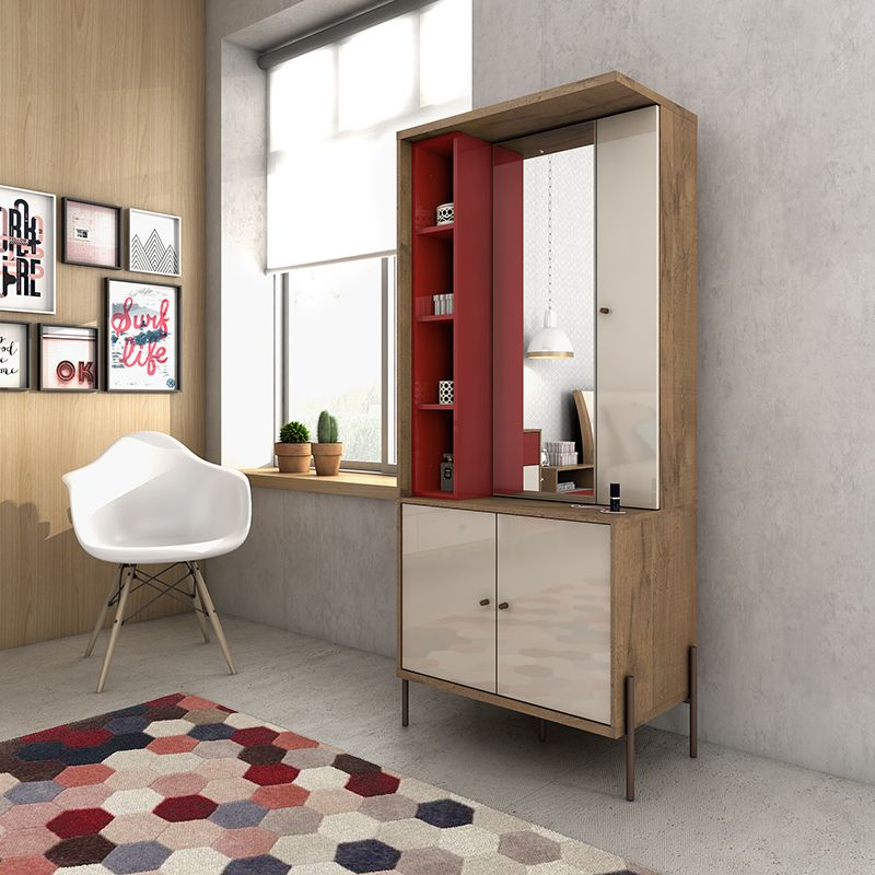 Joy Vanity Jewelry Armoire with Mirror in Red and Off White