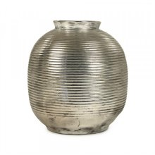 Distressed Metallic Spherical Vase