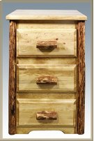 Glacier Country Log Nightstand with 3 Drawers Product Image