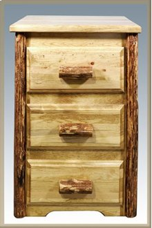 Glacier Country Log Nightstand with 3 Drawers