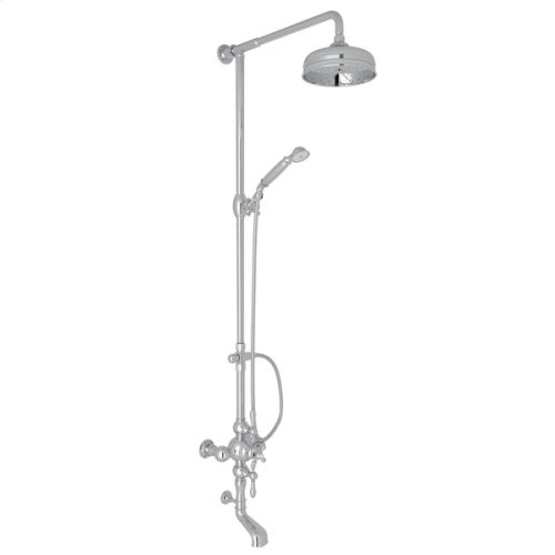 Polished Chrome Arcana Exposed Wall Mount Thermostatic Tub/Shower With Volume Control with Arcana Series Only Classic Metal Lever