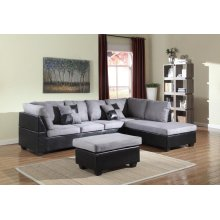 GREY/BLACK SECTIONAL CHAISE