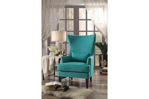 Accent Chair with Kidney Pillow, Teal