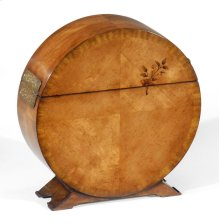 Circular Light Walnut & Floral Inlay Placemat Box