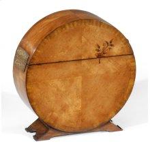 Circular Light Walnut & Floral Inlay Placemat Box
