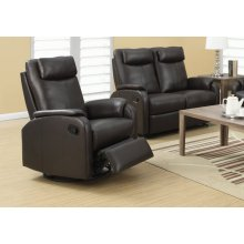 RECLINING CHAIR - SWIVEL ROCKER / DARK BROWN PU