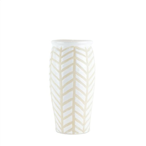 "Ceramic Chevron Vase 14"", White/beige"