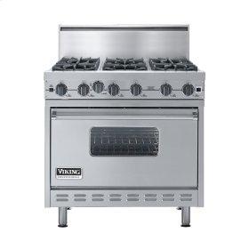 "Stainless Steel 36"" Open Burner Commercial Depth Range - VGRC (36"" wide, six burners)"