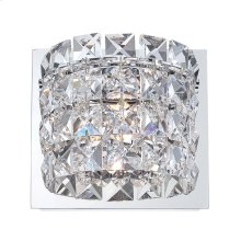Rondell 1-Light Vanity Lamp in Chrome with Clear Crystal