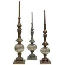Elegance  Set of Three Accent Decorative Finials  Metal and Glass Material