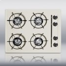 """24"""" wide cooktop in bisque, with four burners and pilot light ignition Product Image"""