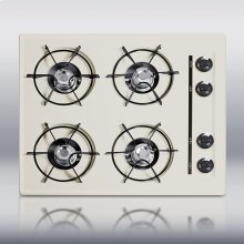 """24"""" wide cooktop in bisque, with four burners and pilot light ignition"""