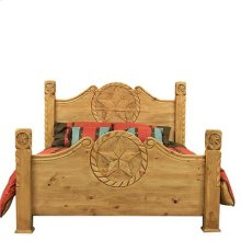"Queen : 64"" x 64"" x 93"" Country Bed with Rope and Star"
