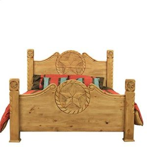 """King : 80"""" x 64"""" x 93"""" Country Bed with Rope and Star"""