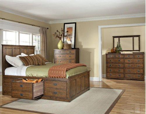 Queen Panel Bed, (2) 3 Drawer Storage Rails