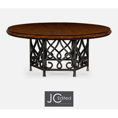 """72"""" Rustic Walnut Dining Table with Wrought Iron Base"""
