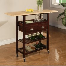 "Julia ""Espresso"" Kitchen Cart with Natural Top"