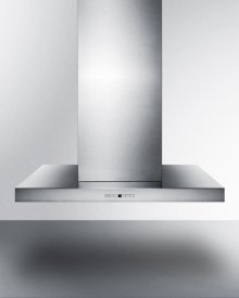 """36"""" Wide Island Range Hood In Stainless Steel, Made In Spain With Rectangular Canopy"""