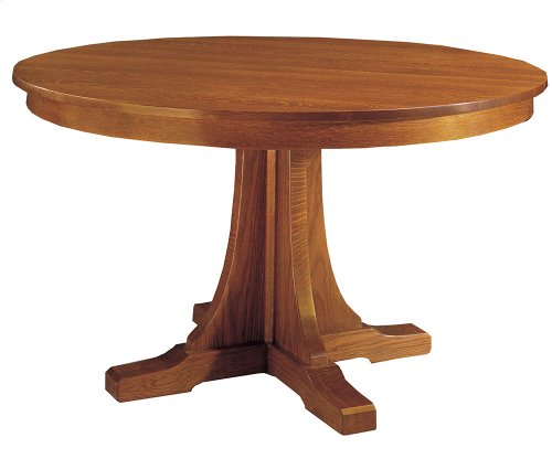 52 Diameter Two Leaves, Oak Round Pedestal Dining Table