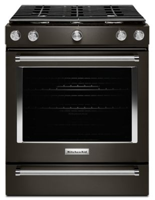 BLACK STAINLESS STEEL DROP IN / SLIDE IN GAS RANGE. KitchenAid