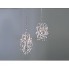 White Beaded Chandelier (2 asstd). 25W Max. Plug-in with Hard Wire Kit Included.