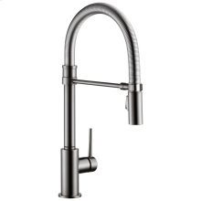 Black Stainless Single Handle Pull-Down Kitchen Faucet With Spring Spout