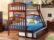 Richland Bunk Bed Twin over Full with Raised Panel Trundle Bed in Walnut