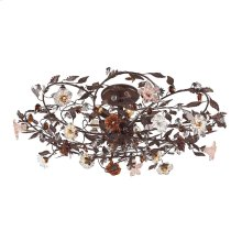 Cristallo Fiore 6-Light Flush Mount in Deep Rust with Clear and Amber Florets
