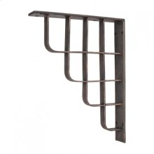 """1-7/8"""" x 10"""" x 13-1/2"""" Metal (Iron) Arts & Crafts Bar Bracket. Finish: Swedish Iron Machined. Mounting Screws (#8x3/4"""") Included. Not for outdoor use."""