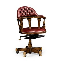 Captain's Style Walnut Office Chair, Upholstered in Rich Red Leather
