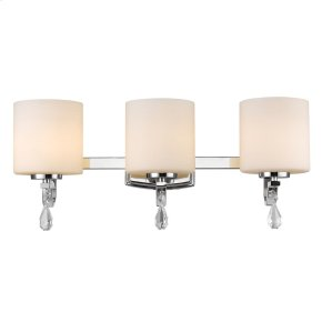 Evette 3 Light Bath Vanity in Chrome with Opal Glass